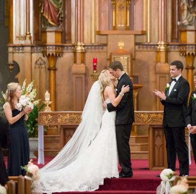 First Kiss After Wedding Ceremony 600x400